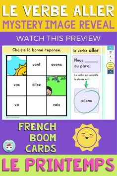 """Get your students working with """"le verbe ALLER au présent de l'indicatif"""" by playing this deck of French Boom Cards. This is a Mystery Image Reveal game: when the student gets the right answer, a piece of the image is revealed. Great way to practice French verb conjugation and grammar in context. For French Immersion and Core French students. French Verbs, French Grammar, Verb Conjugation, Core French, French Immersion, Student Work, Sentences, Mystery, Deck"""