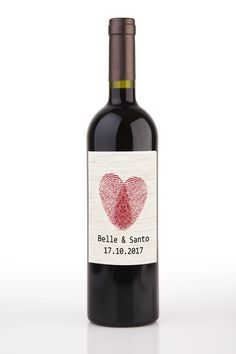 Heart Fingerprints Wedding Personalised Wine Bottle Labels (Set of 8)