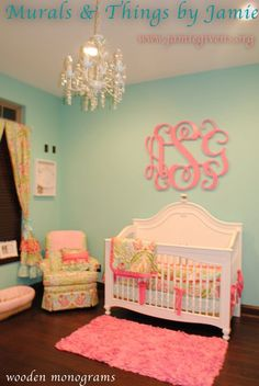Wall paint color is Aquaduct by Sherwin Williams. It's a little brighter in person. Monogram color is Sherwin Williams Vivacious Pink....YES YES AND YES!!!! For my baby girls room.