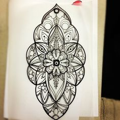 Wonderful Mandala Flower Dotwork Tattoo Design