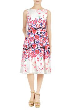 Placed #floral print #crepe dress from eShakti