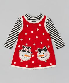 This Red Snowman Layered Dress - Infant, Toddler & Girls is perfect! #zulilyfinds