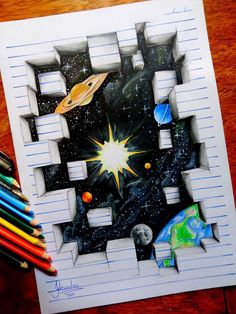 3D drawing of outer space beneath lined paper