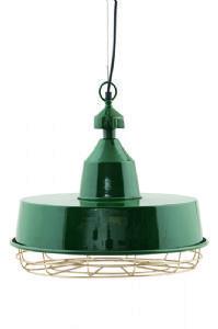 Bugsy Industrial Green Metal Pendant Light