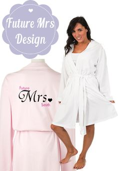 Bride Robe - UK - Pink or white dressing gown printed with Future Mrs Design ideal for Brides to wear on the morning of the wedding Summer Wraps, Personalized Wedding Gifts, Dressing, Gowns, Pure Products, Bridal, Pretty, Pink, How To Wear