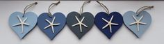 Nautical hanging accents. 10cm x 0.6cm chunky hearts, hand painted and embellished with natural starfish. Custom painting available to order.