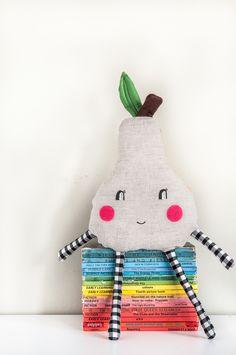 Grey and yellow 'Happy Pear' mini cushion