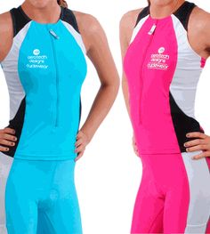 Womens Triathlon Singlet is a sleeveless cycling or running Tank with reflective trim in Pink or Aqua.