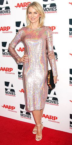 Last Night's Look: Love It or Leave It?   NAOMI WATTS   Is it crazy that we imagined Rihanna wearing this iridescent pale-pink midi, and not Naomi, who selected the funky, futuristic design for the AARP Movies for Grownups gala in Beverly Hills?
