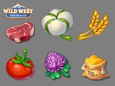Wild West New Frontier, Wild West Games, Farm Games, 2d Game Art, Food Graphic Design, Game Ui Design, Isometric Art, Game Props, Mobile Art