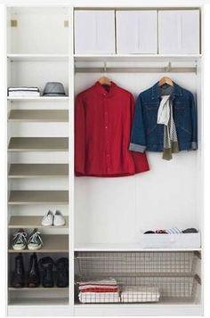 Hallway. Good IKEA PAX combination of wardrobe