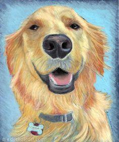 Big smiles.  Golden Retriever painting by Rebecca Rosman.  Visit www.modernpetart.com for more pet portraits.