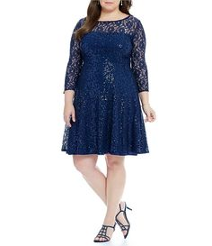 d7aa02ceeccf5 Ignite Evenings Plus Size Sequin 3 4 Sleeve Fit and Flare Dress