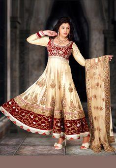 Beige Pure Satin, Net and Velvet Readymade Anarkali Churidar Kameez Online Shopping: KAA1