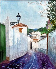 https://flic.kr/p/VjnbyW | Albaicin cobbled street | Cobbled street Albaicin, Granada, watercolour