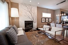 Grey Wall Color Themes and Elegant Dark Sofa Furniture in Modern
