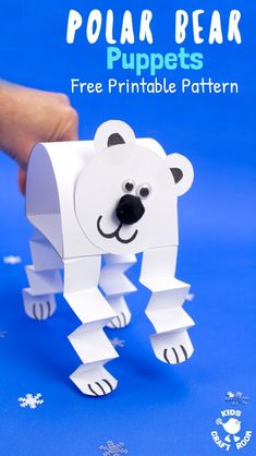Bear Puppets - How adorable is this Polar Bear Puppet Craft! This polar bear craft is made from just one sheet of -Polar Bear Puppets - How adorable is this Polar Bear Puppet Craft! This polar bear craft is made from just one sheet of - Winter Activities For Kids, Winter Crafts For Kids, Winter Kids, Winter Art, Spring Crafts, Winter Crafts For Preschoolers, Animal Crafts For Kids, Art Activities, Preschool Crafts