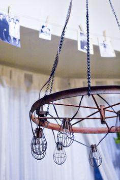 Diy industrial and vintage chandelier shelterness new house lampara araa casa gitana hogar ideas araa iluminacin industrial candelabros araa de la rueda de carro hacer una lmpara de araa aloadofball Image collections