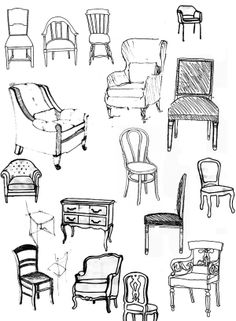 Pull-up a chair... quick seating sketches/illustrations... http://www.bje-art.co.uk/ https://www.etsy.com/uk/shop/BJEartshop