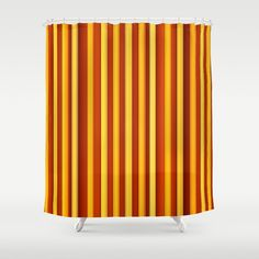 "Stop neglecting bathroom decor - our designer Shower Curtains bring a fresh new feel to an overlooked space. Hookless and extra long, these bathroom curtains feature crisp and colorful prints on the front, with a white reverse side. - One size: 71"" (W) x 74"" (H) - Made in the USA with 100% polyester - 12 buttonhole-top for easy hanging - Machine washable, tumble dry - Rod, curtain liner and hooks not included Custom Shower Curtains, Bathroom Curtains, Orange, Yellow, Hooks, Crisp, Stripes, Colorful, Space"