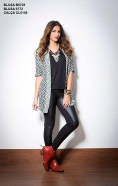 Blusa basic, Ref. B8728 Casaco, Ref. B8772 Legging com couro, Ref. CL5108