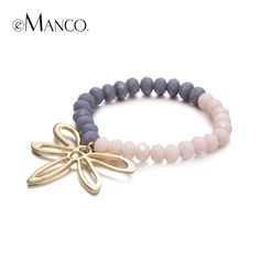 Fashion Nature Dragonfly Bouble Color Beads Charm Bracelets  Bangles for Women Crystal Gold Plated Accessories Jewelry