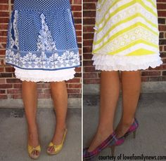 seems like this would be pretty easy to make to make any dress more modest!  Slip Extender Threetiered White Eyelet Ruffle also by aSlipShop, $35.00