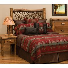 Yellowstone II Bedspread - Western Home Decor Living Room Tribal Bedroom, Southwestern Bedding, Southwest Decor, Southwest Rugs, Southwestern Decorating, Southwestern Style, Beige Bed Linen, Wood River, Leather Bed