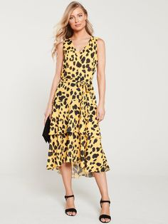 Dresses Uk, Dress Outfits, High Leg Boots, Tiered Dress, Long Toes, Occasion Wear, Yellow Dress, Lingerie, How To Wear