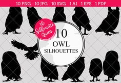 Owl Silhouette Vector Graphics includes PNG files with transparent backgrounds at The PNGs are approximately 10 inches at it's widest point. Owl Vector, Vector Graphics, Vector Design, Logo Design, Graphic Design, Aluco, Owl Banner, Silhouette Clip Art, Silhouette Studio