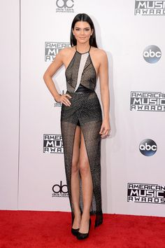 Kendall Jenner in a slit gown at the American Music Awards red carpet