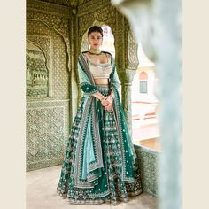 Shop latest designer lehenga choli specially crafted to make you look beautiful and gorgeous on the most special day of life. This mystic embroidered and stone work work designer lehenga choli. Indian Bridal Outfits, Indian Bridal Wear, Indian Designer Outfits, Indian Dresses, Bridal Dresses, Mens Indian Wear, Indian Wedding Gowns, Wedding Sari, Bollywood Wedding