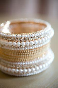 gold and white pearl bangles| Suhaifa & Jacques