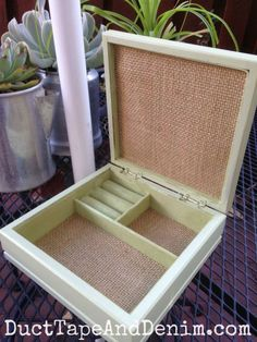 Inside of the green and burlap jewelry box ~ DIY idea ~ chalk type paint makeover with thrift store find. ~ DuctTapeAndDenim.com