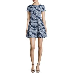 Shoshanna Short-Sleeve Floral-Print Party Dress ($420) ❤ liked on Polyvore featuring dresses, straight dress, shoshanna dresses, short sleeve dress, short sleeve fit and flare dress and blue flower print dress