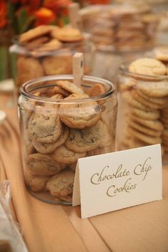 Dessert table with cookie jars - such a great idea for a rustic backyard wedding #wedding #dessert #desserttable #cookies #rustic