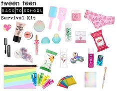 back to school survival kit Tween Teen Back to School or Summer Vacay Survival Kit I added this to this category because we all know what it is like during those long rehersals Middle School Supplies, Middle School Hacks, School Kit, Life Hacks For School, Back To School Essentials For Teens, School Bags, School Stuff, Period Kit, Period Hacks