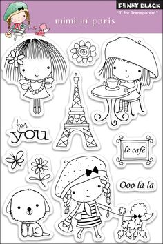 Penny Black Clear Stamps 4 Inch X 6 Inch Sheet-Mimi In Paris