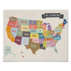 Ilrated Map Of America 24 X 36 Wall Poster