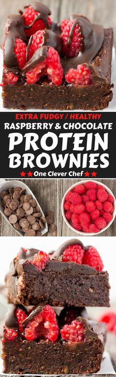 Raspberry & Dark Chocolate Protein Brownies - One Clever Chef Paleo Dessert, Gluten Free Desserts, Dairy Free Recipes, Vegan Desserts, Real Food Recipes, Snack Recipes, Dessert Recipes, Protein Brownies, Protein Desserts