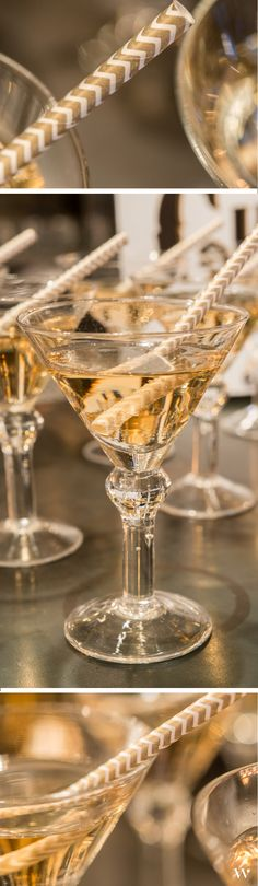 Cheers! Get the look of this art deco themed bar with mini martini glasses and metallic sippers