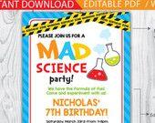 mad science party / mad scientist party / mad scientist invitations / mad science invitation / mad science printable / INSTANT DOWNLOAD