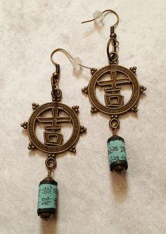 Antique brass Asian look earrings