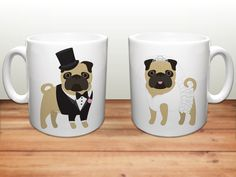 Pug Coffee Mugs - Wedding Pugs Ceramic Mugs - Pug Lover Wedding Gift - Pug Mugs…