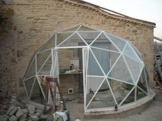 half geo-dome greenhouse                                         Just think of the FREE Heat in Winter.