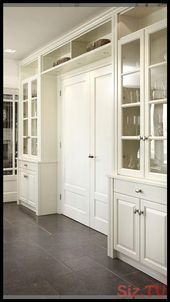 The Craft Patch: Corner Hutch Furniture Makeover Kitchen Pantry Design, Kitchen Cabinets Decor, Modern Kitchen Design, Home Decor Kitchen, Home Kitchens, Dining Room Cabinets, Kitchen Cabinets With Glass Doors, Tall Cabinets, Glass Kitchen
