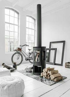 Scandinavian Home Design Ideas choose white and grey Stil Inspiration, Interior Inspiration, Interior Architecture, Interior And Exterior, Home Fireplace, Fireplaces, Modern Fireplace, Fireplace Ideas, Living Spaces