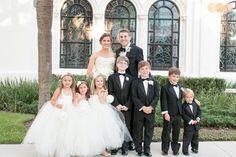 Bride and groom with flower girls and ring bearer    Citrus Club Orlando wedding  www.AmalieOrrangePhotography.com