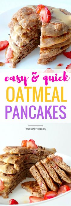 Easy Banana Oatmeal Pancakes - super tasty & healthy pancake recipe! These are really good and easy to make! You need one bowl to mix and one pan to cook. I added strawberry chunks to the batter (can't see them though) & walnuts (so good!). Super delicious, quick, easy, healthy, high-fiber breakfast that isn't oatmeal (well...)! The recipe makes 6 small pancakes, which were the perfect serving size for me   www.beautybites.org