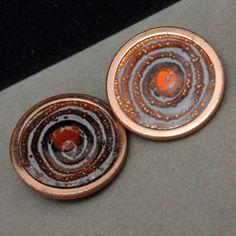 """Gracelet"" Earrings Vintage Copper and Enamel Clips Matisse Renoir | eBay"